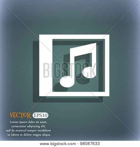 Audio, Mp3 File  Icon Symbol On The Blue-green Abstract Background With Shadow And Space For Your Te