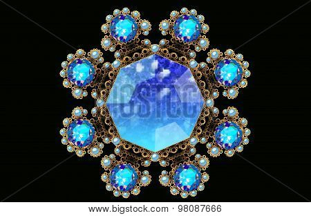 Illustration Fractal Gold Brooch With Blue Gems And Pearls