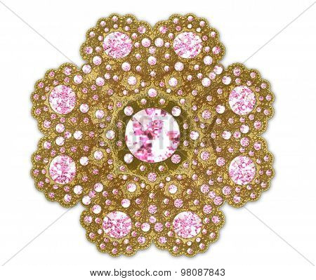 Illustration Fractal Gold Brooch With Pink Precious Stones