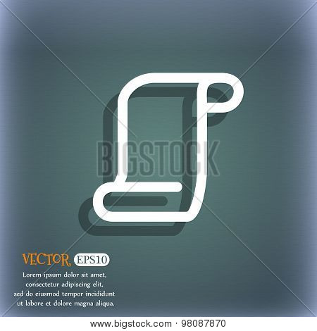 Paper Scroll  Icon Symbol On The Blue-green Abstract Background With Shadow And Space For Your Text.