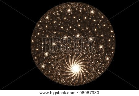 Fractal Illustration Of Glowing Ball Of Pearls And Spirals