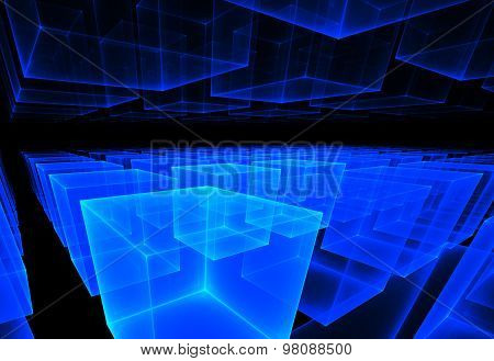 Fractal Illustration Of Cosmic Background Of Rows Of Cubes In Pe