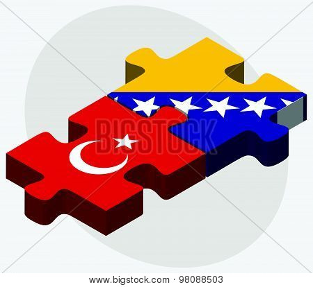 Turkey And Bosnia And Herzegovina Flags