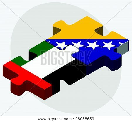 United Arab Emirates And Bosnia And Herzegovina Flags