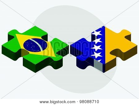 Brazil And Bosnia And Herzegovina Flags