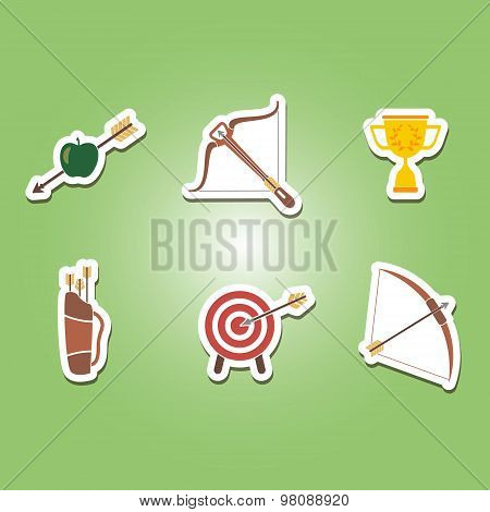 set of color icons with archery