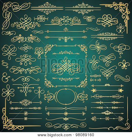 Vector Golden Glossy Luxury Hand Drawn Design Elements
