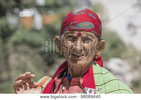 Old Local Woman In Manali, India