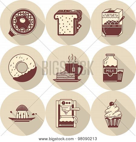 Morning breakfast brown vector icons set