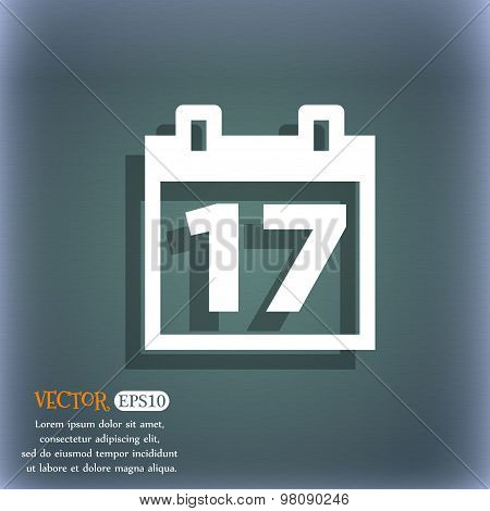 Calendar, Date Or Event Reminder  Icon Symbol On The Blue-green Abstract Background With Shadow And