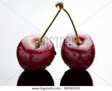 Red Cherry On Black