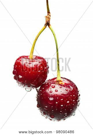 Two Unequal Cherries On One Bunch