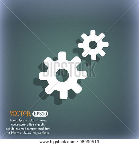 Cog Settings,  Cogwheel Gear Mechanism  Icon Symbol On The Blue-green Abstract Background With Shado