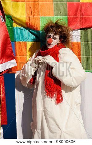 Orel, Russia, August 01, 2015: Mumu Fest, Turgenev's Story Art-festival,  Mime, Pantomime, Clown Kee