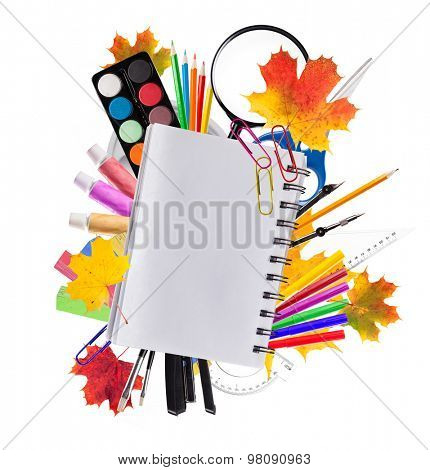 School accessories placed on white background. Concept of education and start of new school year