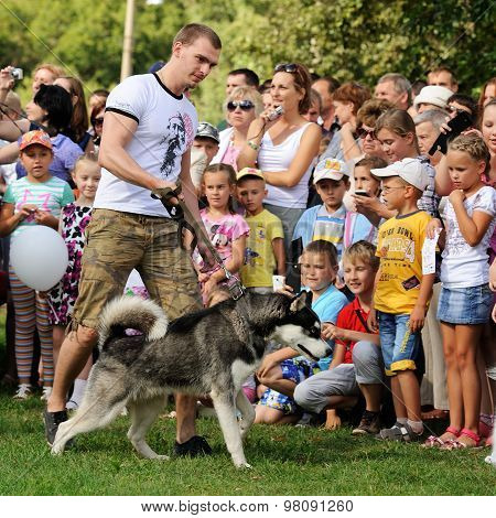 Orel, Russia, August 01, 2015: Mumu Fest, Turgenev's Story Art-festival, Man With Husky, Childrens L