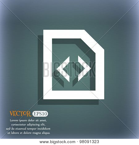 Script  Icon Symbol On The Blue-green Abstract Background With Shadow And Space For Your Text. Vecto