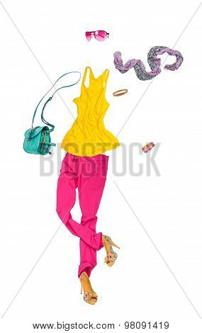 Women's Clothing Runs In Motion Isolated On White Background