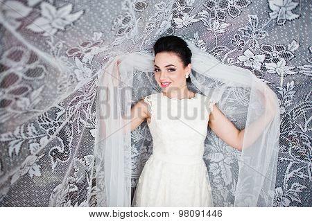 Gorgeus Brunette Bride  In Curtains