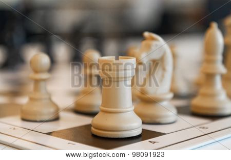Chess pieces on the board close up