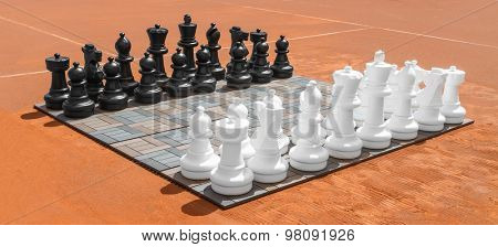 Big outdoor chess on the board.