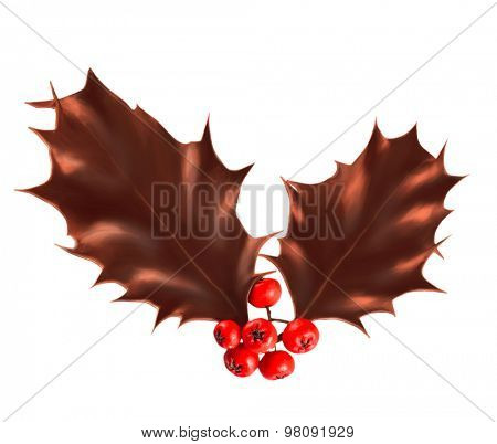 Chocolate Holly berry leaves  isolated on white background.  Christmas decoration