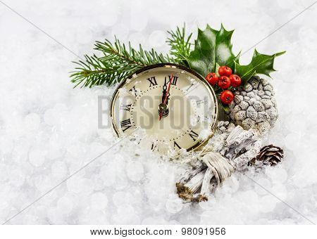 New year hours in the snow with winter decoration