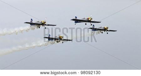 Flying Bulls Aerobatics Team On The Airshow