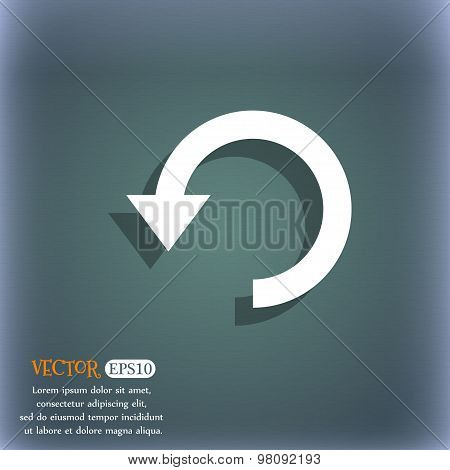 Upgrade, Arrow, Update  Icon Symbol On The Blue-green Abstract Background With Shadow And Space For