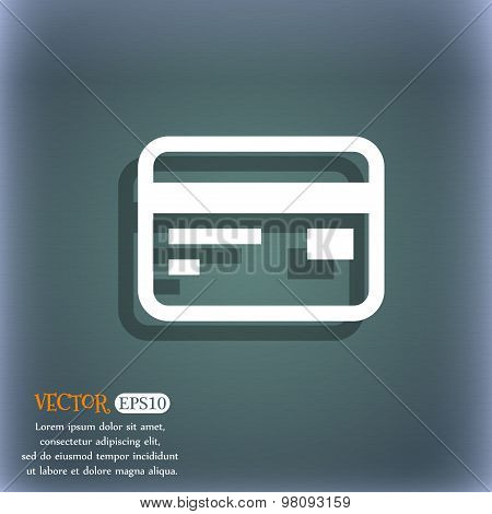 Credit, Debit Card  Icon Symbol On The Blue-green Abstract Background With Shadow And Space For Your