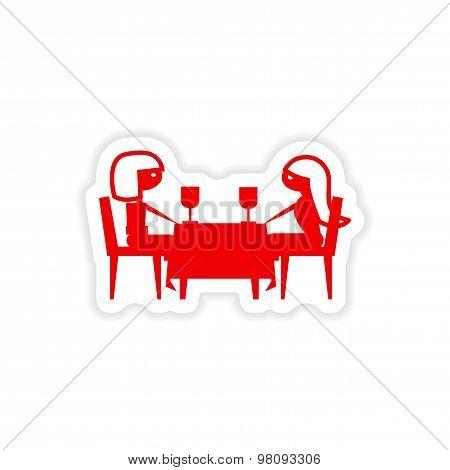 icon sticker realistic design on paper dinner friend