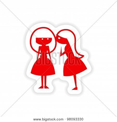 icon sticker realistic design on paper girlfriend conversation
