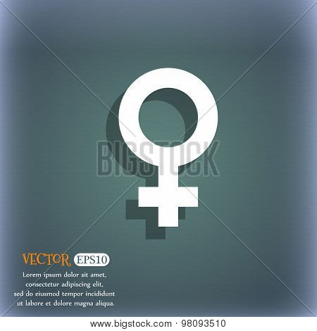 Symbols Gender, Female, Woman Sex  Icon Symbol On The Blue-green Abstract Background With Shadow And