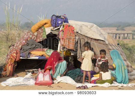 Indian Women And Children In Pushkar Camel Mela.. India