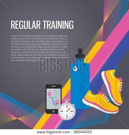 Jogging sport gym background about regular training, water, metrics.