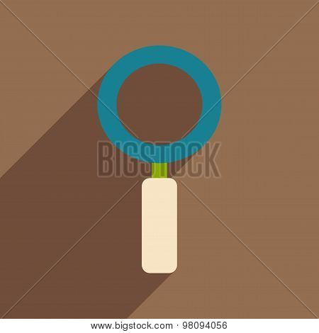 Flat with shadow icon and mobile application magnifying glass