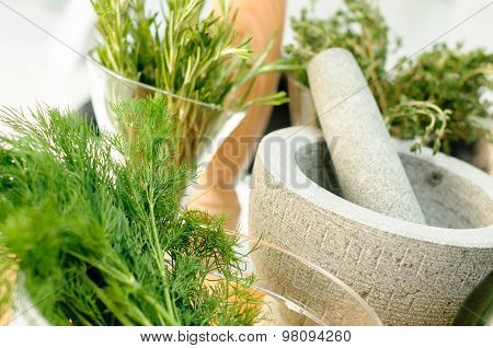 Herbs and Mortar for spices clode up