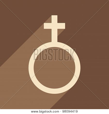 Flat with shadow icon and mobile application equality of the sexes