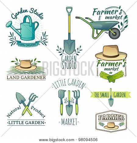 Set of vintage color retro logos, badges, badges, labels. Instruments, Shop garden, farm, organic ga