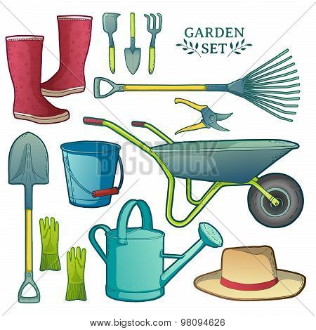 Colorful set of garden tools. Instruments, hat, wheelbarrow, gloves. vector