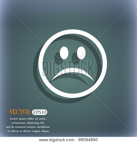 Sad Face, Sadness Depression  Icon Symbol On The Blue-green Abstract Background With Shadow And Spac