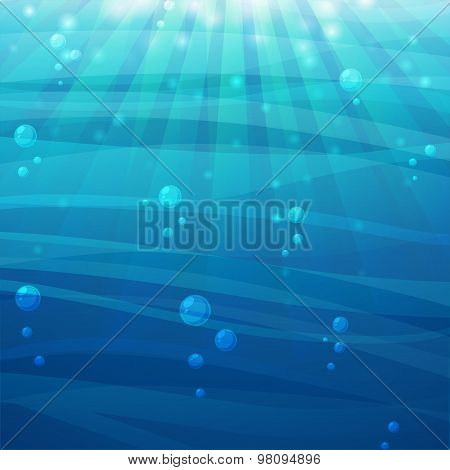 Cartoon sea background with sun light and bubbles. Vector.