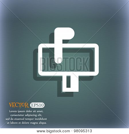 Mailbox  Icon Symbol On The Blue-green Abstract Background With Shadow And Space For Your Text. Vect