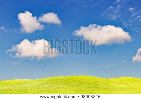 Grass Field And Blue Sky