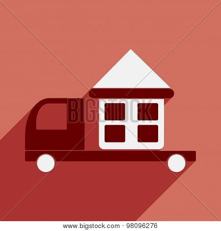 Flat with shadow icon and mobile application car home delivery