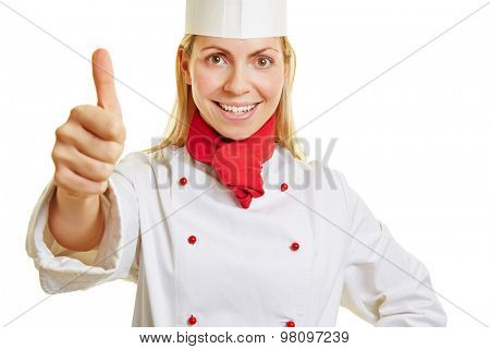 Young smiling woman as chef cook holding her thumb up