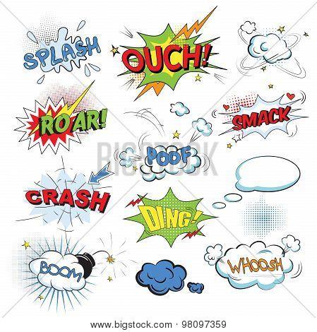 Comic colored speech bubbles in pop art style