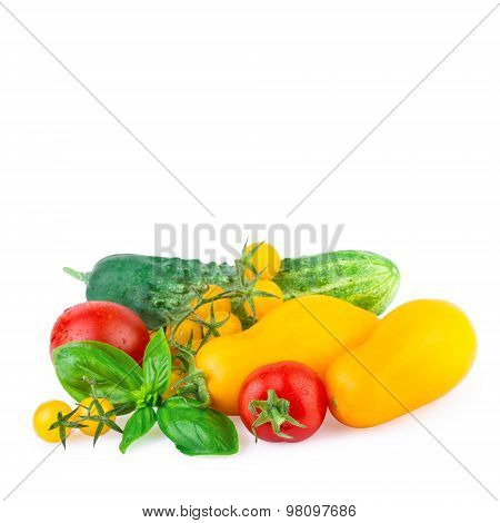 Green Red Yellow Vegetables Isolated