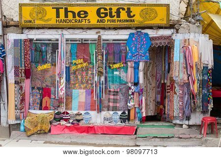 Front View Of Tibetan Shop Clothes And Souvenirs In Leh, Ladakh, India