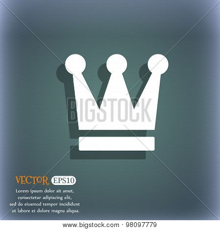 King, Crown  Icon Symbol On The Blue-green Abstract Background With Shadow And Space For Your Text.
